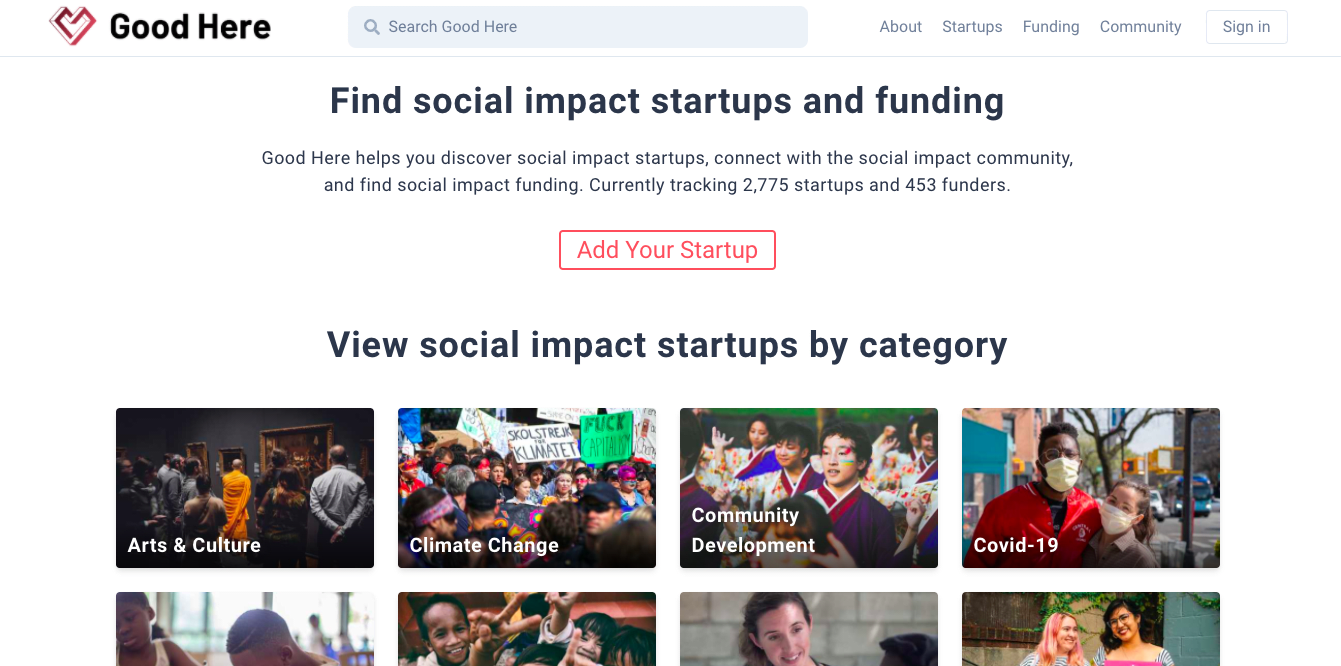 Introducing Good Here, find social impact startups and funding