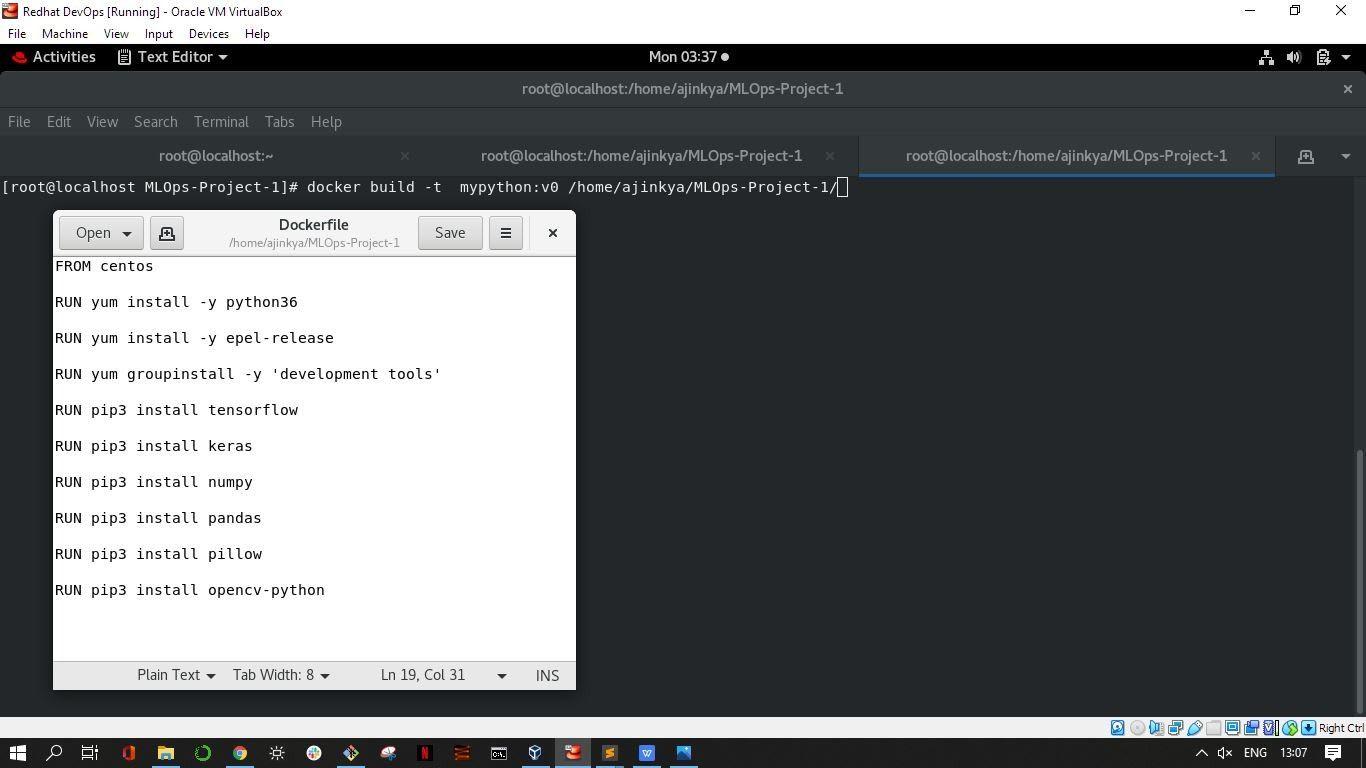 Creating a dockerfile