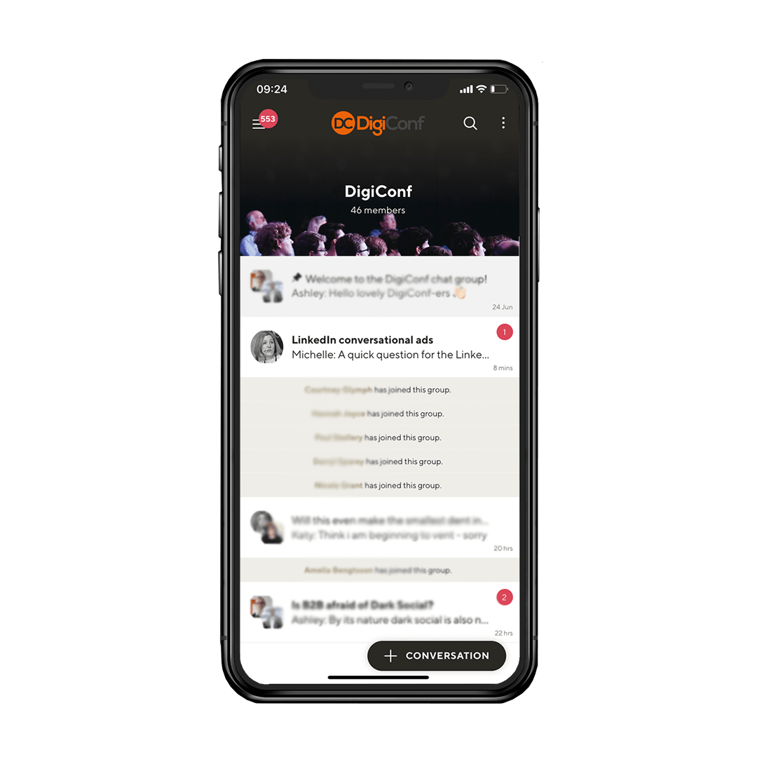 Online event community on mobile phone app