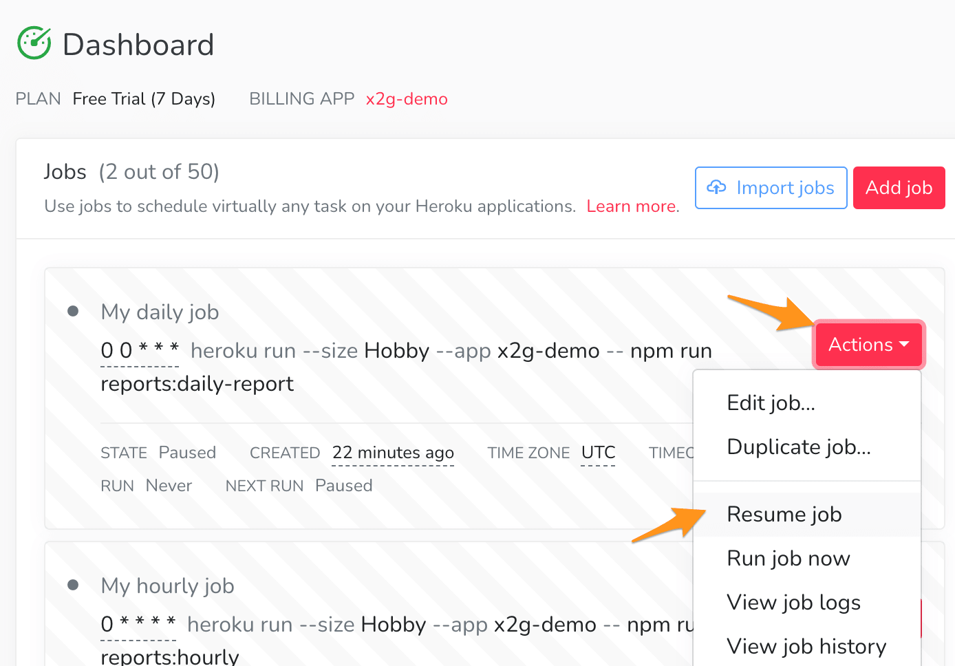 to enable a job, click Actions and Resume job