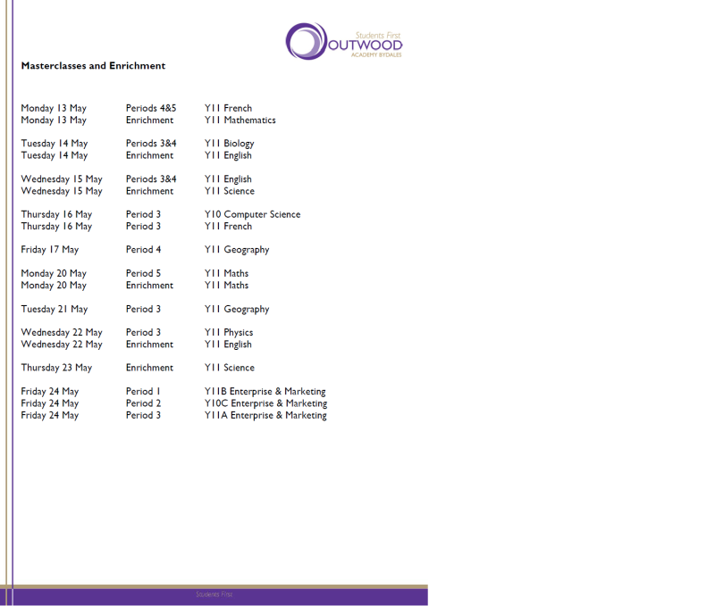 Exams Outwood Academy Bydales