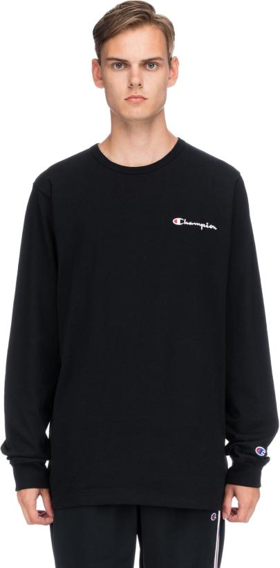 483db94e6e46 Champion: Embroidered Script Logo Long Sleeve T-Shirt - Black | influenceu