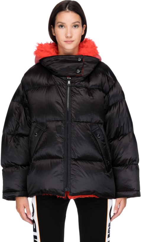 587cf3c53ef5e Yves Salomon: Oversized Shearling Hooded down Jacket - Black/Rio ...