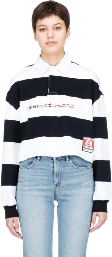 cc87fc845ada5 Alexander Wang  Rugby Stripe Cropped Polo Shirt - Black White ...