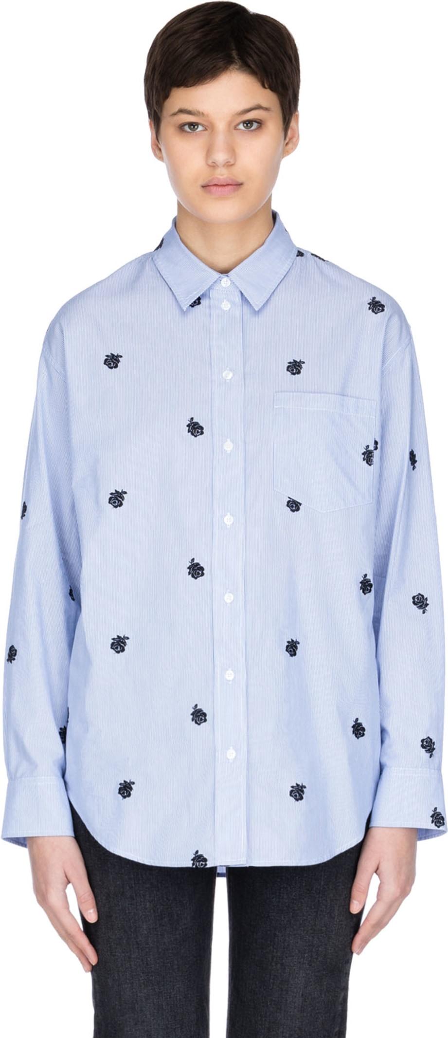 9839731d Kenzo: Striped 'Roses' Shirt - Sky Blue | influenceu