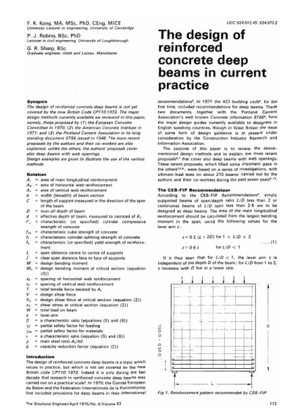The Design of Reinforced Concrete Deep Beams in Current