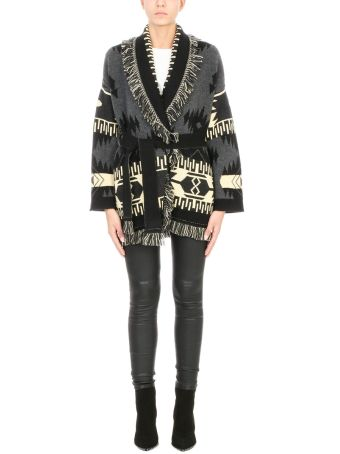 Alanui Cardigan Over In Black And Yellow Cashmere