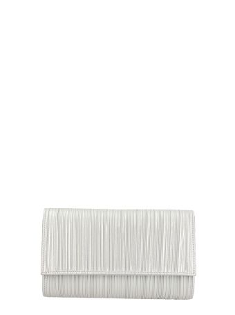 Casadei Silver Satin And Leather Clutch