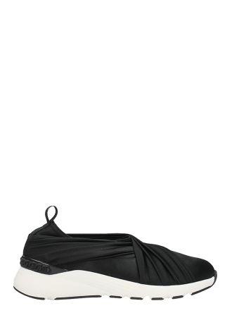 Casadei Wrap Black Satin Sneakers