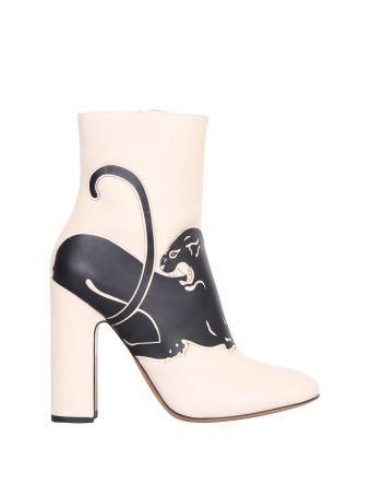 Valentino Garavani Panther Leather Ankle Boots