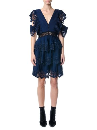 self-portrait Tiered Pleated Embroidered Mini Dress