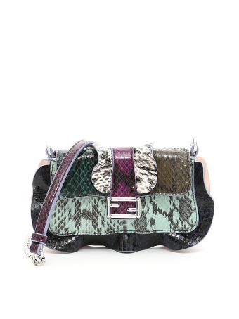 Multicolor Elaphe Micro Baguette Bag
