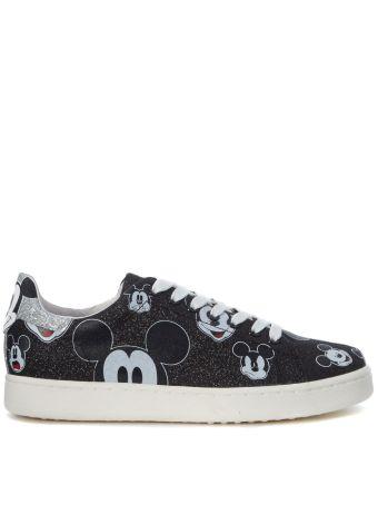 Moa Mickey Mouse Black Glitter Sneaker