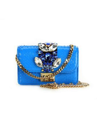 Gedebe Blue Mini Cliky Python Textured Bag
