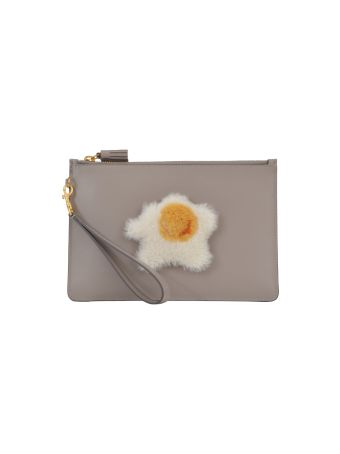 Anya Hindmarch Flat Clutch With Shearling Egg