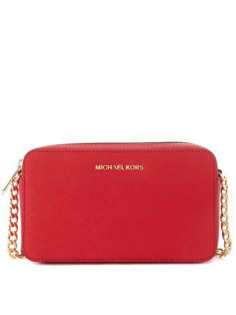 Michael Kors Jet Set Travel Red Leather Shoulder Bag