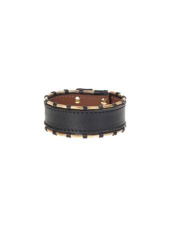 Black Leather And Gold Metal Shark Bracelet
