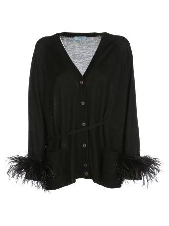 Prada Embellished Belted Cardigan