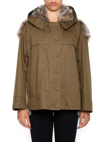 Cotton Jacket With Faux Fur