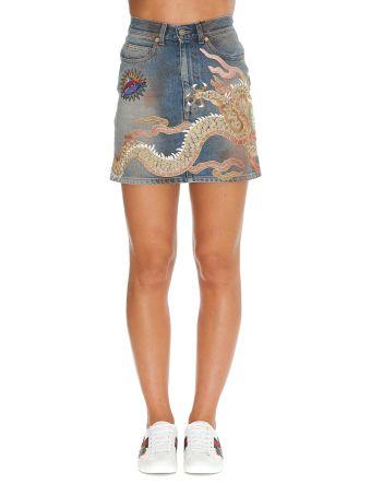 Gucci Dragon Detail Denim Skirt