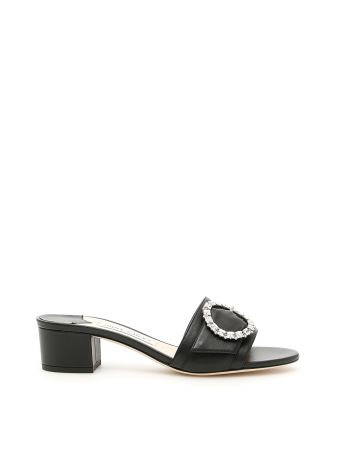 Nappa Mules With Crystal Buckle