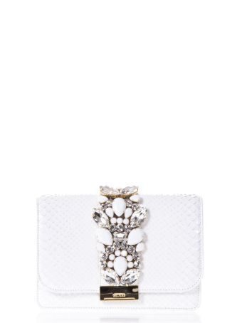 Gedebe Cliky Embellished White Python Clutch
