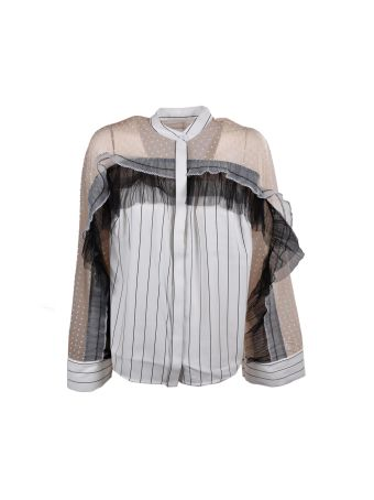 self-portrait Stripe Pleated Trim Shirt