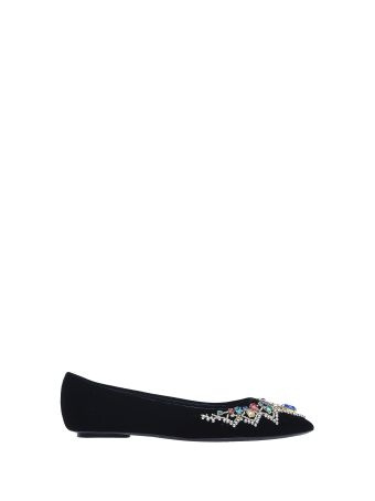 Casadei Black Flat Shoes Velvet And Swarovski