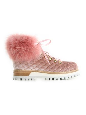 Le Silla Pink Quilted Velvet Lace-up Booties