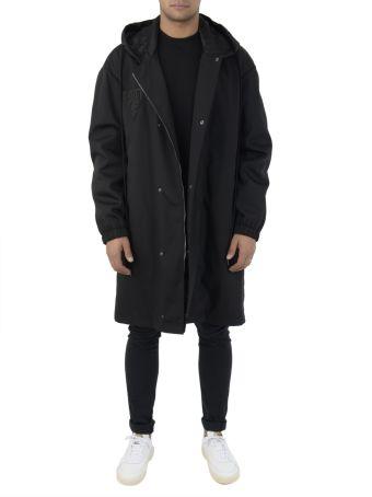 Black Hooded Logo Coat
