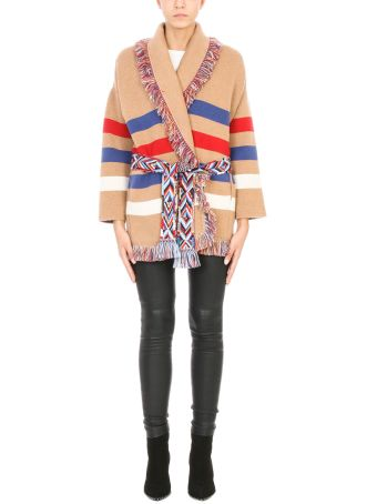 Alanui Cardigan Over In Beige Red And Blue Cashmere