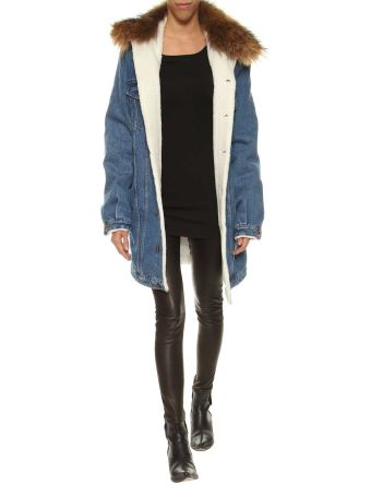 Forte Couture Denim Jacket With Fur