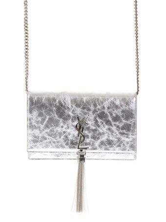 Saint Laurent Kate Chain Wallet In Metallic Silver Leather