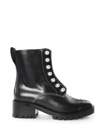 3.1 Phillip Lim Hayett Faux-pearls Leather Combact Boots