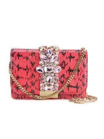 Gedebe Jungle Pink Cliky Python Textured Bag