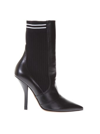 Fendi Leather Boots Stretch Fabric Insert