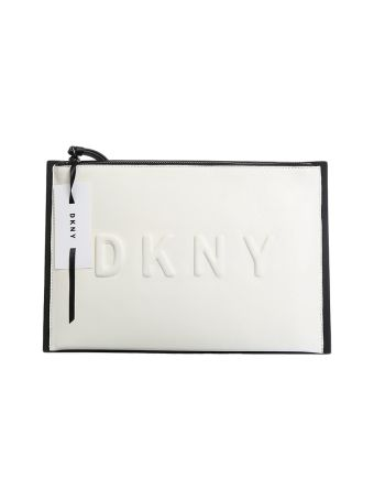 Black And White Leather Embossed Logo Clutch