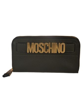Moschino Logo Plaque Zip Around Wallet