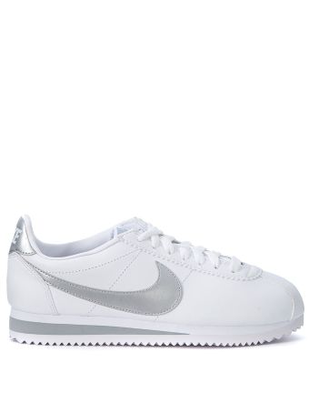 Nike Classic Cortez White And Silver Leather Sneaker