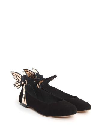 Sophia Webster Chiara Metallic Leather-trimmed Suede Ballet Flats