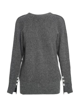 3.1 Phillip Lim V-neck Faux-pearls Wool-blend Sweater