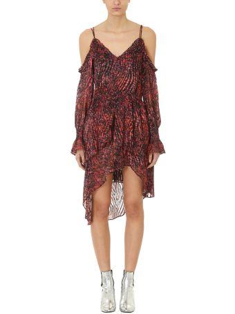IRO Eloma Printed Off-the-shoulder Short Dress