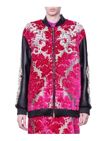 Fausto Puglisi Jacuqard And Leather Bomber Jacket