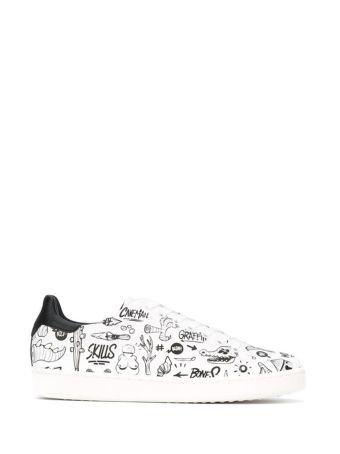 Moa White Leather Printed Sneakers