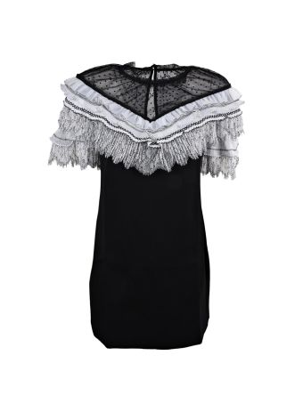 self-portrait Pleated Trim Mini Dress