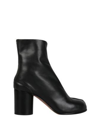 Maison Margiela Tabi Black Leather Ankle Boots