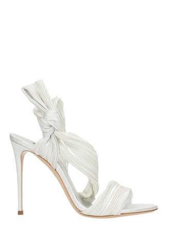 Casadei Silver Satin Knot Sandals