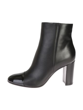 Black Leather Ankle Boots With Patent Leather Toecap