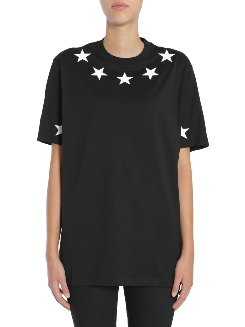 Givenchy star appliqu cotton t shirt in black modesens for Givenchy star t shirt
