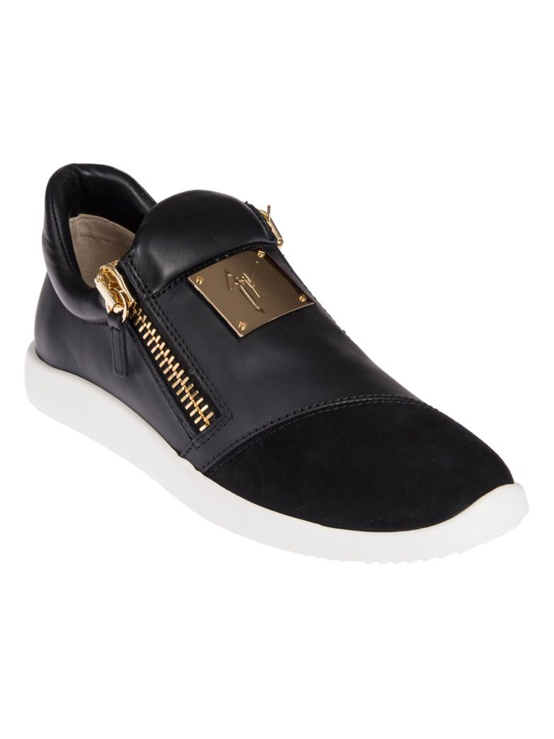 GIUSEPPE ZANOTTI BLACK LEATHER AND SUEDE RUNNES SNEAKERS